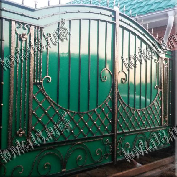 кованые ворота зеленые