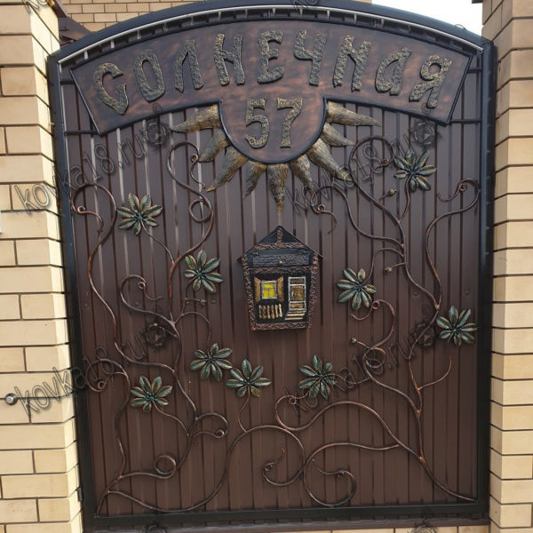 ворота из профнастила с калиткой- секция