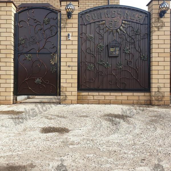 кованые ворота фото-калитка и секция забора